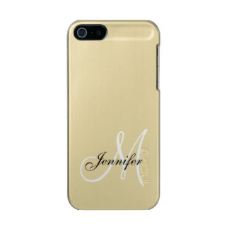 SIMPLE, BLACK, WHITE YOUR MONOGRAM YOUR NAME INCIPIO FEATHER® SHINE iPhone 5 CASE