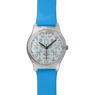 Simple blue abstract lines and shapes watch