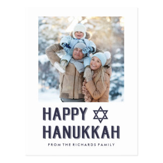Simple Blue and White Happy Hanukkah with Photo Postcard