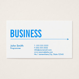 Simple Blue Arrow Programmer Business Card