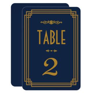 Simple Blue Art Deco Wedding Table Numbers