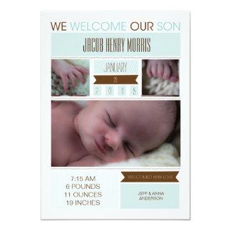 Simple Blue Baby Boy Annoucement 13 Cm X 18 Cm Invitation Card