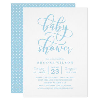 Simple Blue Baby Shower Invitation