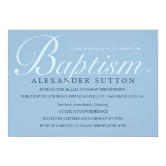 Simple Blue Baptism/Christening Invite