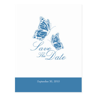 Simple Blue Butterflies Save The Date Wedding Postcards