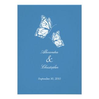 Simple Blue Butterflies Wedding Announcement