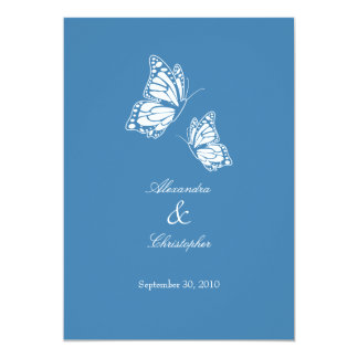 Simple Blue Butterflies Wedding Announcement