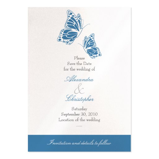 Simple Blue Butterfly Save The Date Wedding Mini Business Card