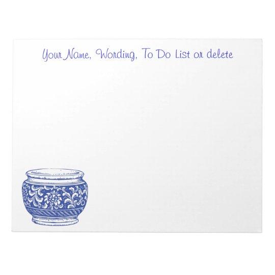 Simple Blue Cachepot Flower Pot Optional Wording Notepad