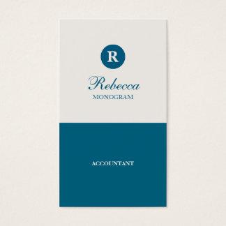 Simple Blue & Cream Monogram Business Cards