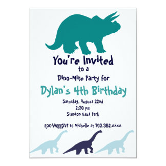 Simple Blue Dinosaur Birthday Party Invitations