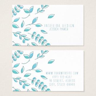 Simple Blue Floral Business Card
