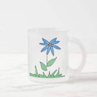 Simple Blue Flower Frosted Mug