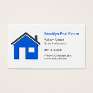 Simple Blue & Gray Home Icon Real Estate Agent Car Business Card
