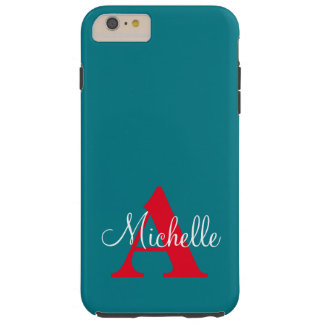 Simple Blue Grey Red Your Monogram Personalized Tough iPhone 6 Plus Case