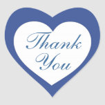 Simple blue white heart thank you stickers