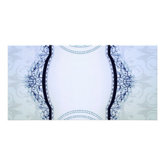 Simple Bluish and Grey Damask Personalised Photo Card