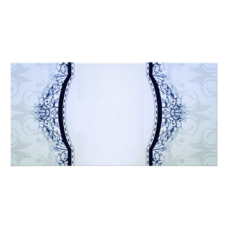 Simple Bluish and Grey Damask Photo Cards