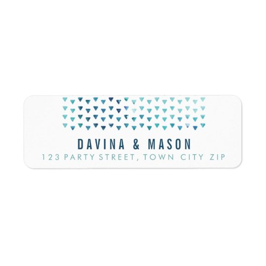 SIMPLE BOHO RETURN ADDRESS modern pattern blue Return Address Label