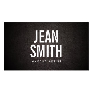 Simple Bold Text Dark Leather Makeup Artist Pack Of Standard Business Cards