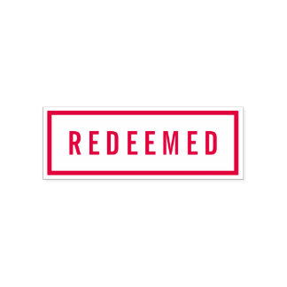 Simple Border Bold Red Redeemed Self-inking Stamp