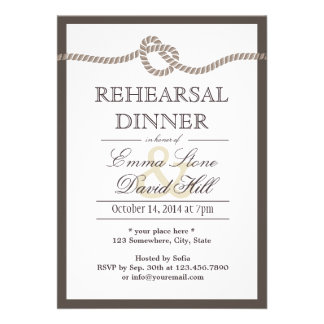 Simple Border Tying the Knot Rehearsal Dinner Personalized Invitations