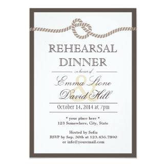 Simple Border Tying the Knot Rehearsal Dinner 5x7 Paper Invitation Card