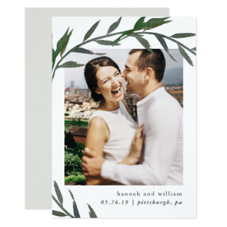 Simple Botanical Photo Save the Date Card