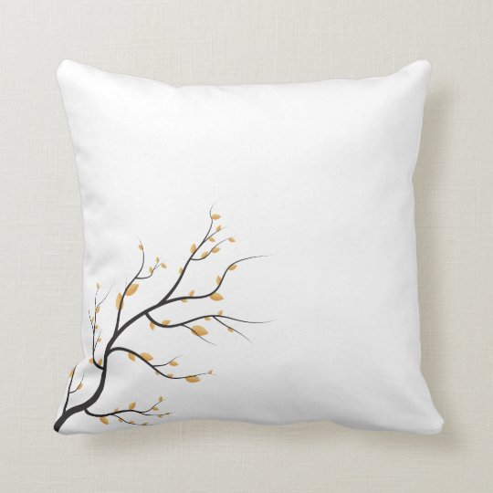 Simple Branch with Autumn Leaves | Throw Pillow