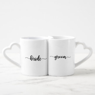 Simple Bride Groom Script Matching Coffee Mugs