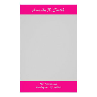 Simple bright Pink grey Stationery