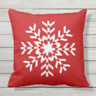 Simple Bright Red and White Christmas Snowflake Cushion