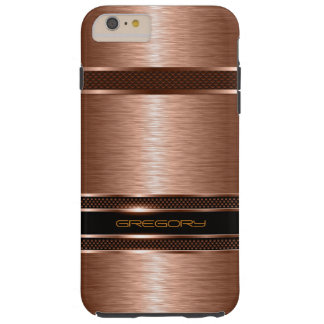 Simple Brown Copper Tones Metallic Look Tough iPhone 6 Plus Case