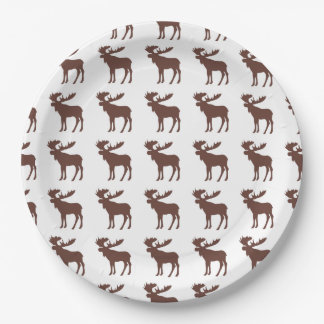 Simple brown moose pattern paper plates