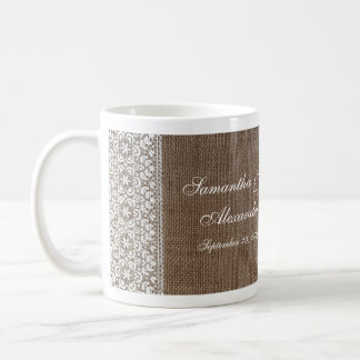 Simple Burlap and Lace Coffee Mug