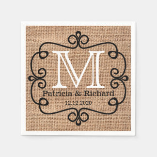 Simple Burlap Bride Groom Wedding Monogram Disposable Serviette