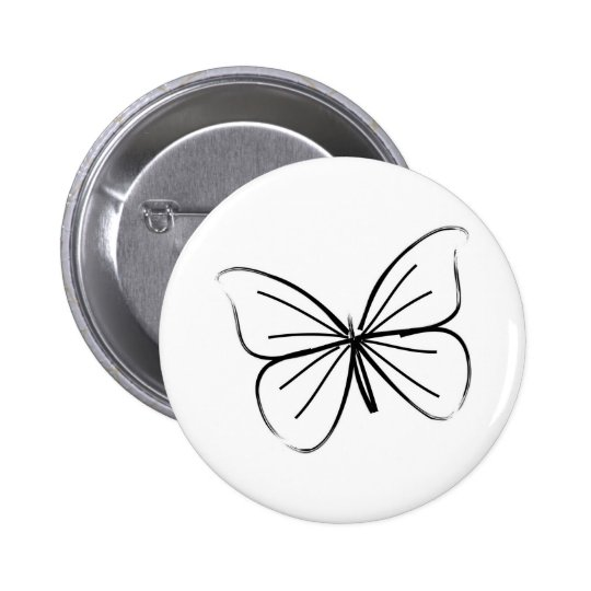 Simple Butterfly Line Drawing 6 Cm Round Badge