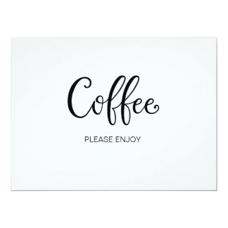 "Simple Calligraphy | ""Coffee"" Wedding sign Card"