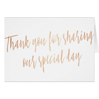 "Simple Calligraphy Rose Gold ""Thank you"" Card"