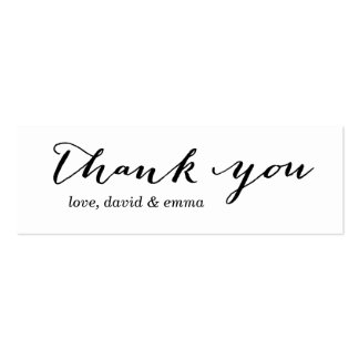 Simple Calligraphy Thank You Gift Tags Pack Of Skinny Business Cards