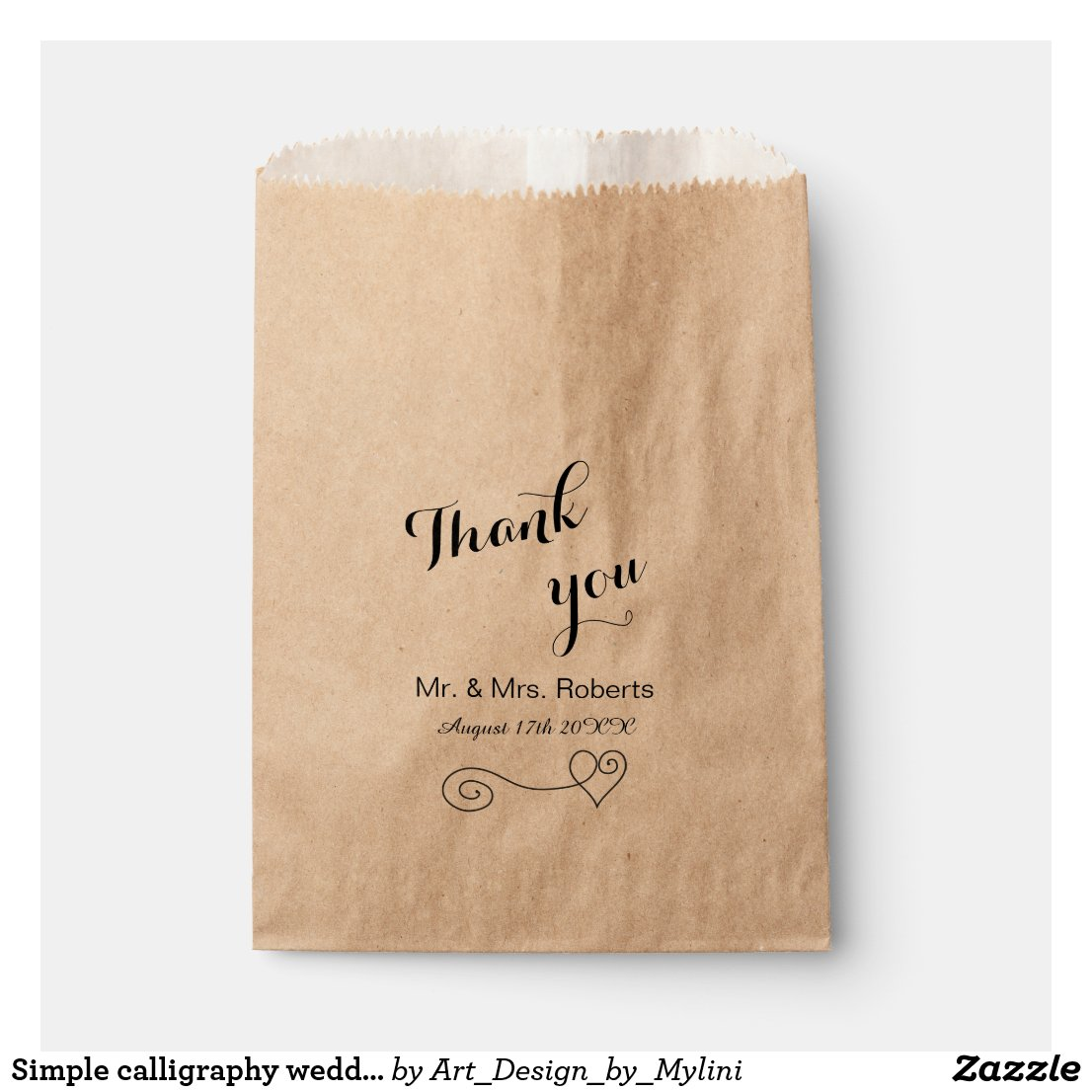 Calligraphy Wedding Favour Bag
