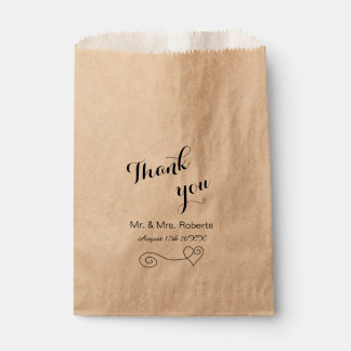 Simple calligraphy wedding favour bags