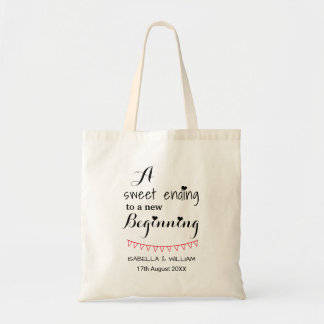 Simple calligraphy wedding favour tote bag