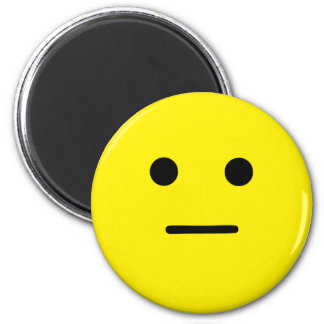 Simple Calm Yellow Face 6 Cm Round Magnet