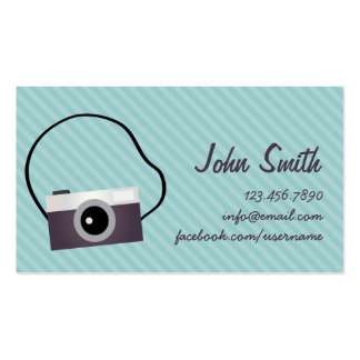Simple Camera Diagonal Stripes Business Card