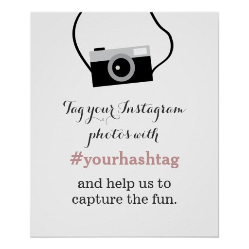 Simple Camera Instagram Photos Hashtag Sign Print