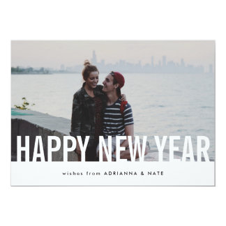 Simple Casual Chic Happy New Year Photo Card