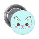 Simple cat face so cute! 6 cm round badge