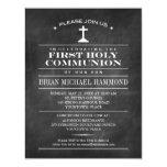 Simple Chalkboard First Holy Communion 11 Cm X 14 Cm Invitation Card