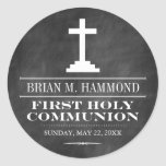 Simple Chalkboard First Holy Communion Round Sticker